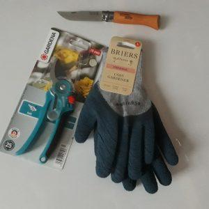 Snoeiset snoeischaar handschoen en zakmes